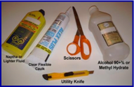 "Photo, showing tools and glass door cleaning products used to prepare and install a ""Univerally Adjustable - Shower Door Drip Rail"" on either a framed or unframed glass door. Naptha, 99% Alcohol, Transparent Caulk, Scissors, and Utility knife."