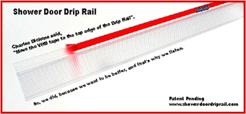 Shower Door Drip Rail photo showing partly peeled 3M-VHB liner from Transparent Adhesive Tape, w/black background.